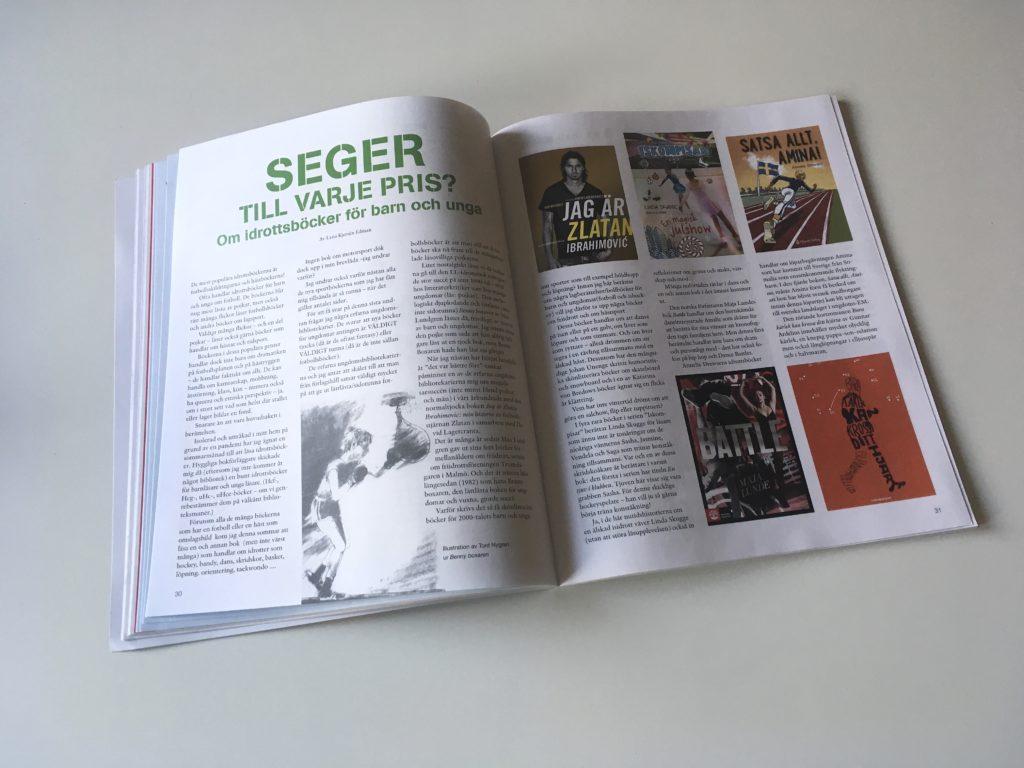Ett uppslag om idrottsböcker ur tidningen Opsis Barnkultur.