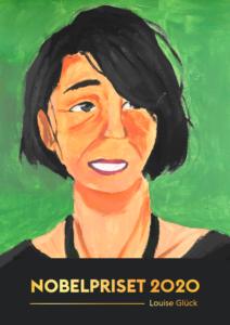 Framsidan av Nobelhäftet 2020, med ett målat porträtt av Louse Glück.